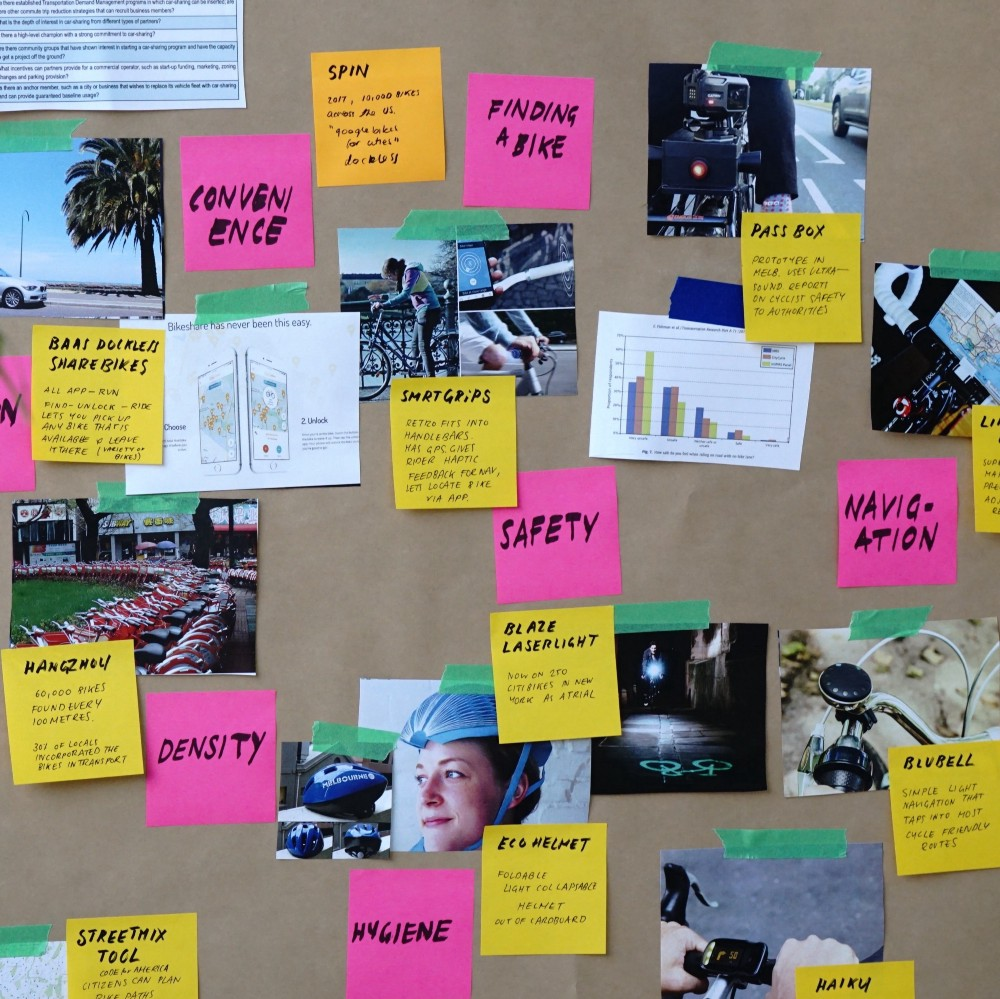 Sticky notes and taped paper and photos up on a buliton