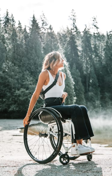 Woman in wheelchair in nature
