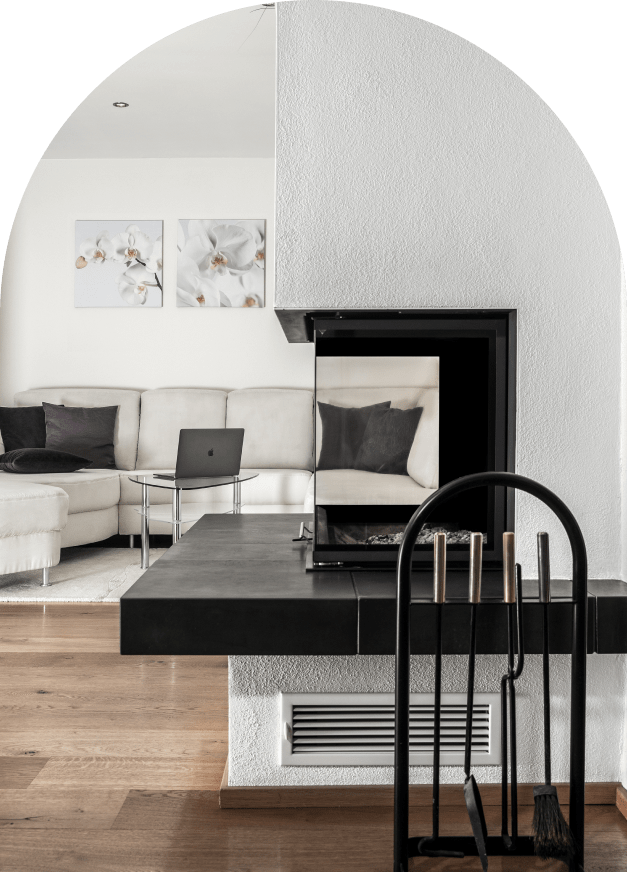 Modern fireplace set into the wall