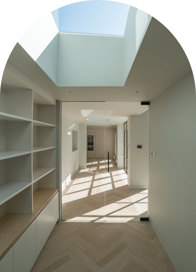 Skylight with bookshelves on both sides