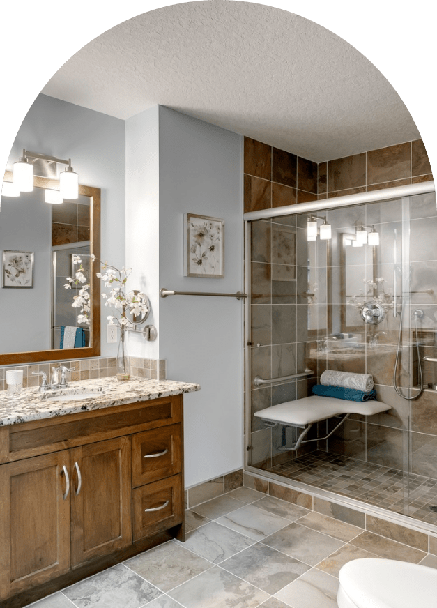 Accessible bathroom with custom seating in the shower