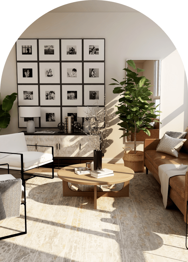 Chic living room with comfortable seating, plants, and wall art.
