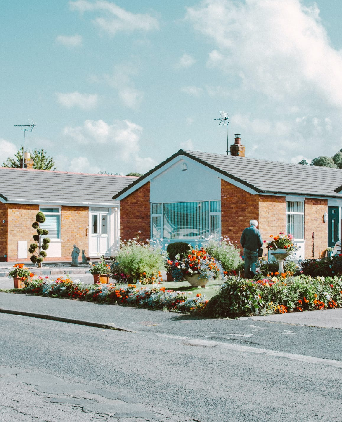 Small brick bungalow facing the street