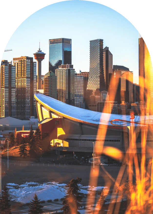 Calgary skyline at sunsnet