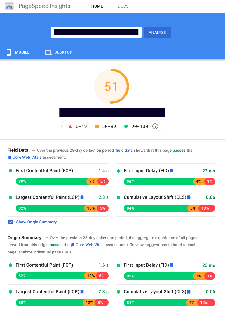 Google PageSpeed Insights Report (Render Better customer example)