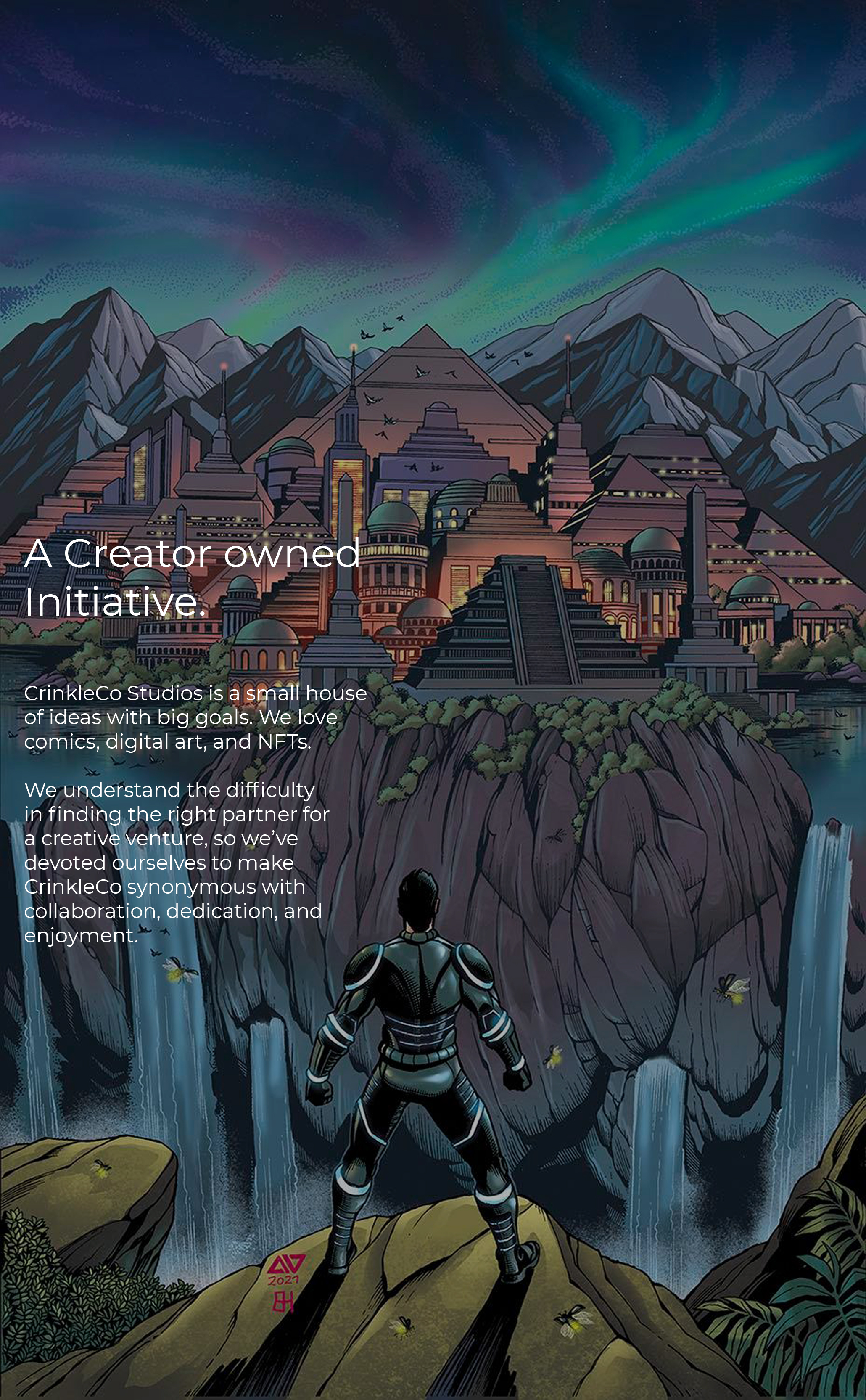 """Preview image of Chagra Chronicles comic book. Chagra is facing his old home, the ancient city of Sebonia.  Text says, """"CrinkleCo Studios is a small house of ideas with big goals. We love comics, digital art, and NFTs.We understand the difficulty in finding the right partner for a creative venture, so we've devoted ourselves to make CrinkleCo synonymous with collaboration, dedication, and enjoyment."""""""