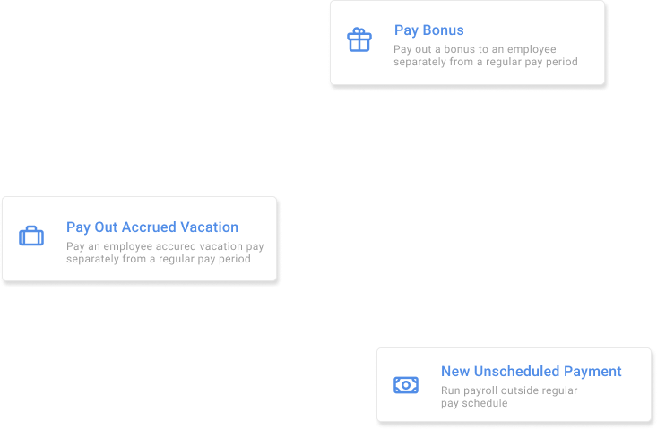 special payment types supported by PayTickr: bonuses, accrued vacation, and unscheduled payments