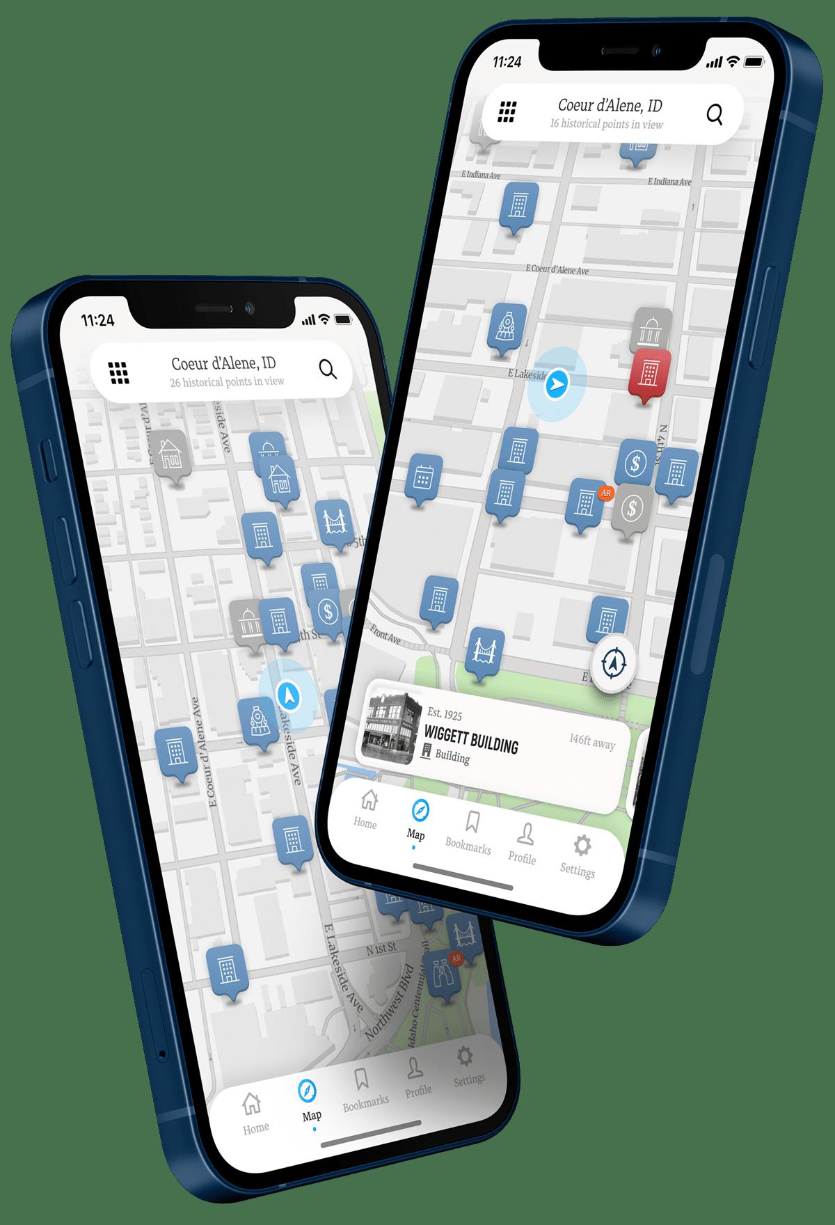 Map view of Historik App