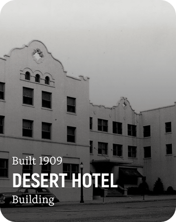 History Card of the Desert Hotel in downtown Coeur d'Alene, Idaho