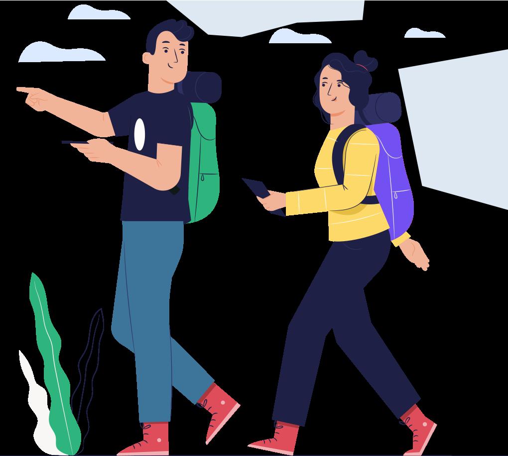 Illustration of people exploring on phones