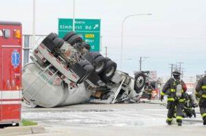 Truck Rollover on Interstate