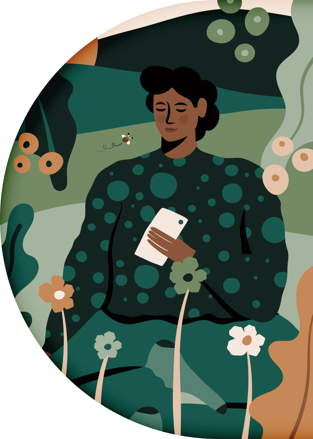 Illustration of a character sitting peacefully in nature