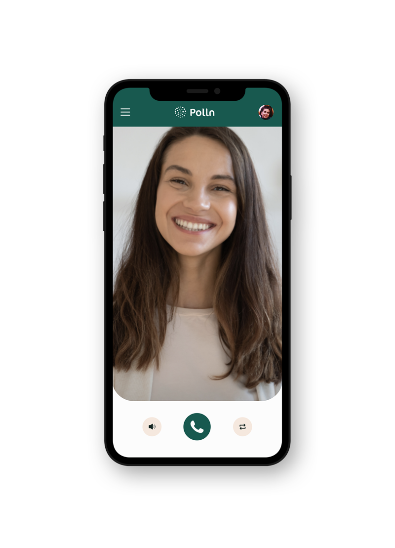 Mobile phone displaying Polln Dashboard's video consult feature