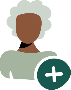 Illustration of a person with a plus sign indicating new user