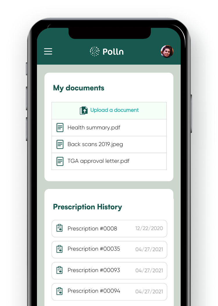 Polln Platform in a mobile phone showing prescriptions