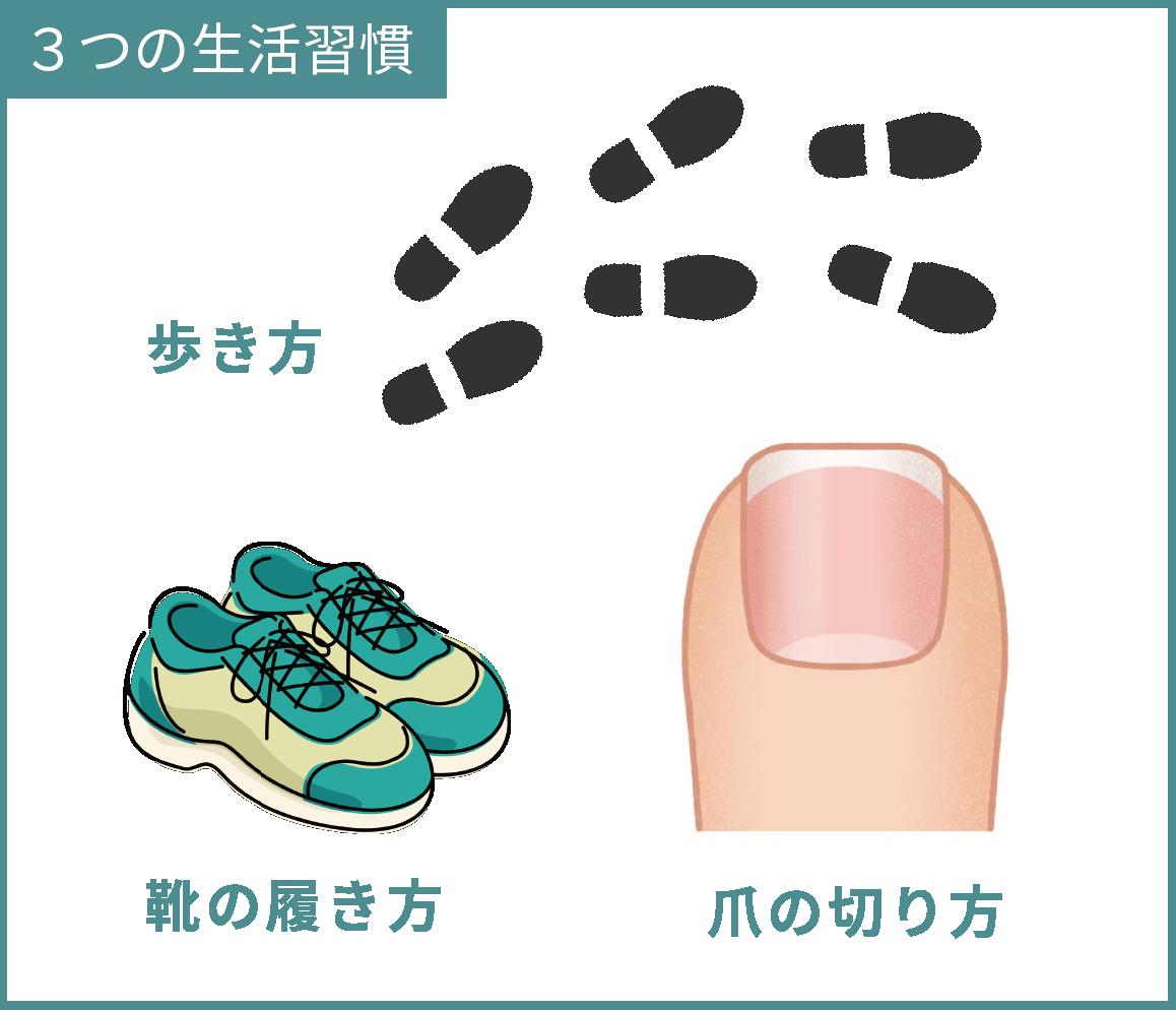 靴の履き方・爪の切り方・歩き方