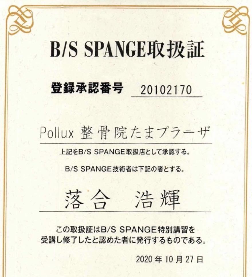 B/S SPANGE 取扱証