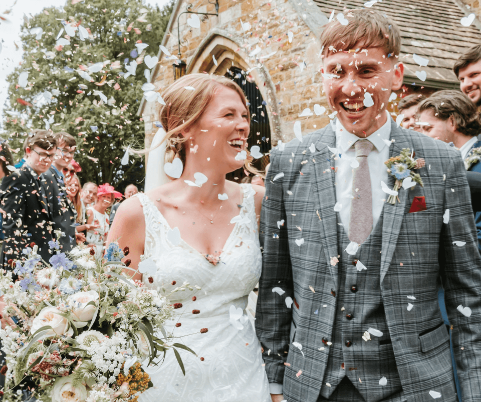 A bride and groom walking down the aisle after saying 'I Do', shot by Gemma Randall Photography ©.