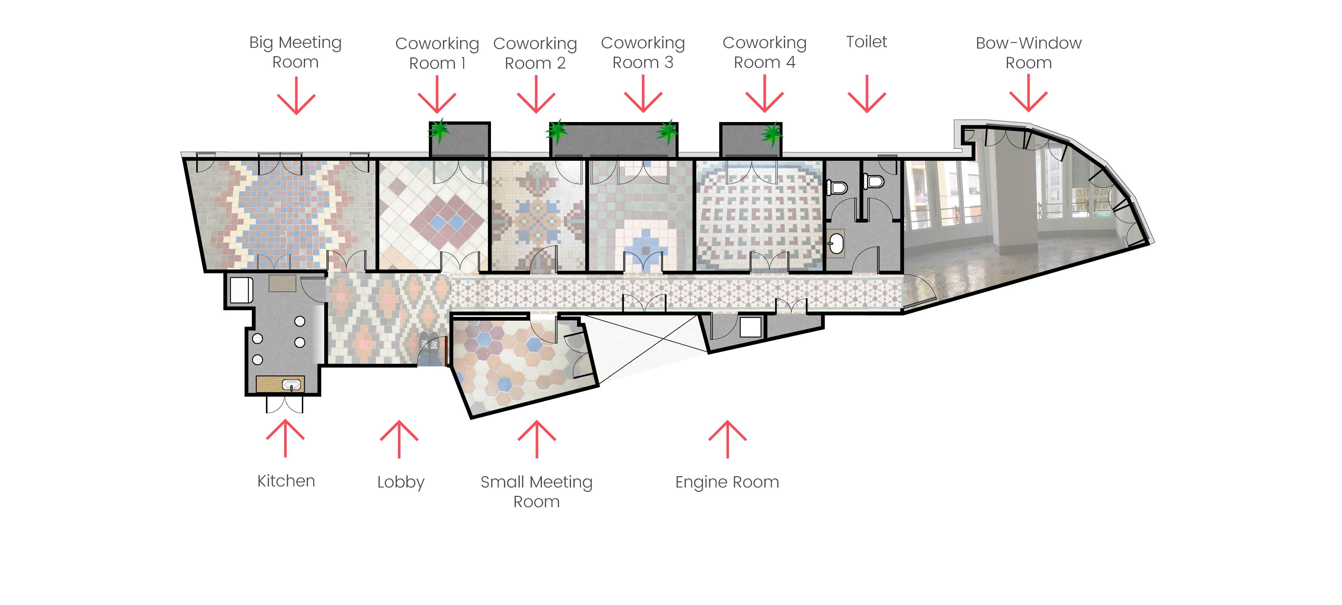 Plano descriptivo con todas las salas de Mosaico Coworking