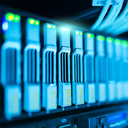 a powered-on server rack