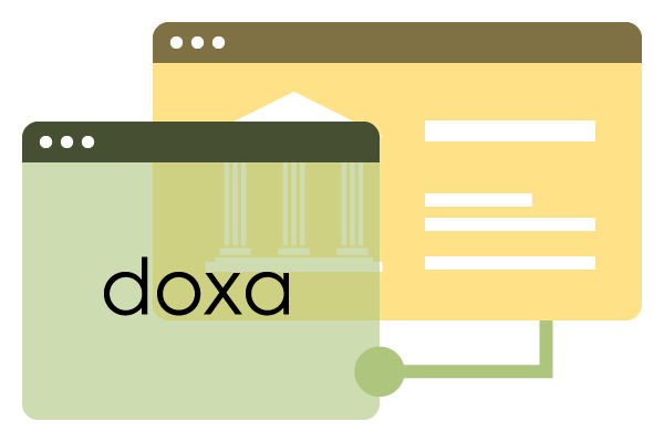 two computer windows representing doxa being connected to the bank
