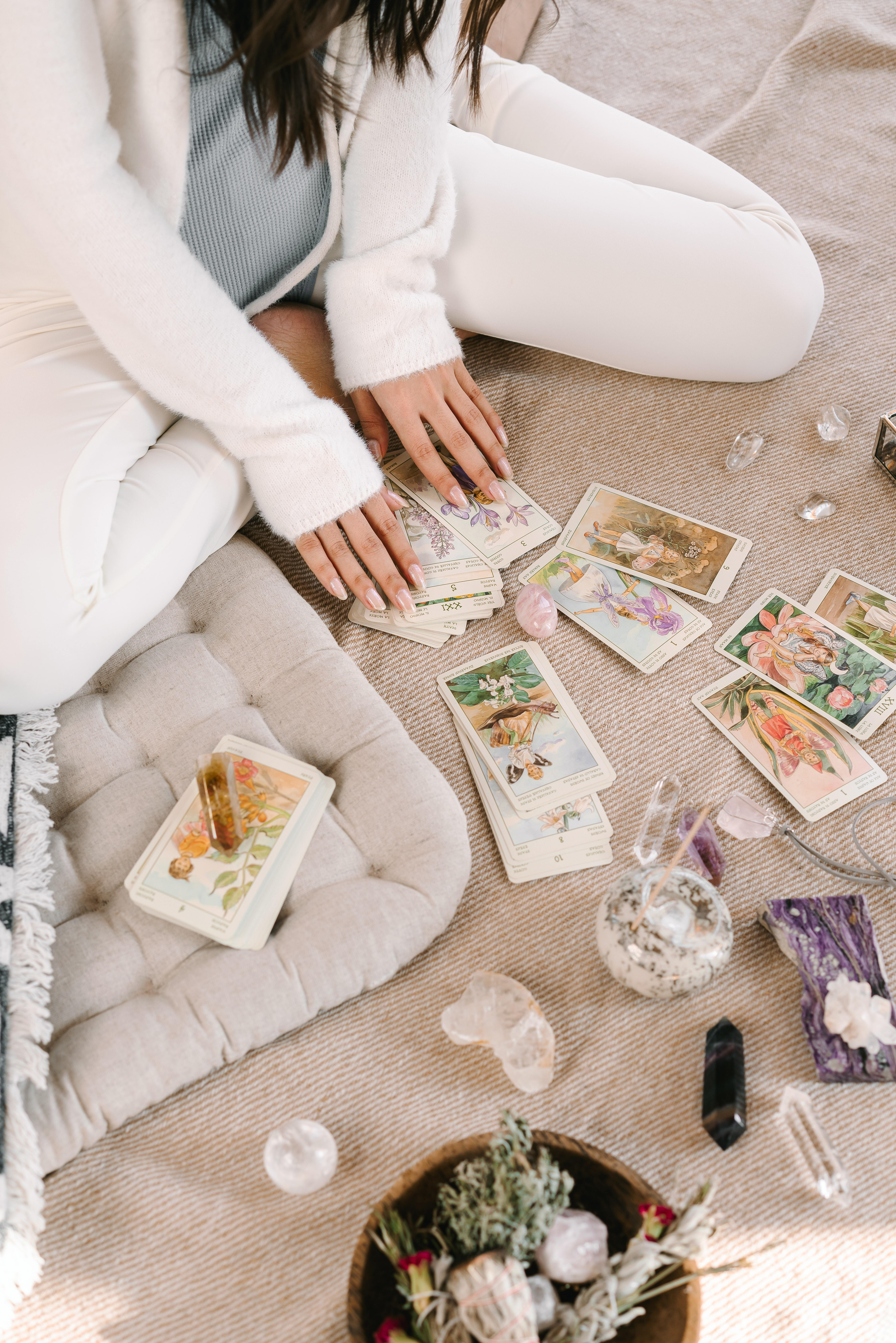 Crystal healing and Cards layed out on the floor