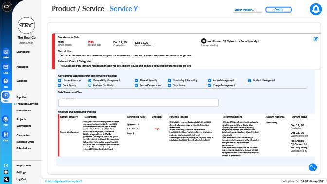 Vendor Risk Management Platform Screenshot