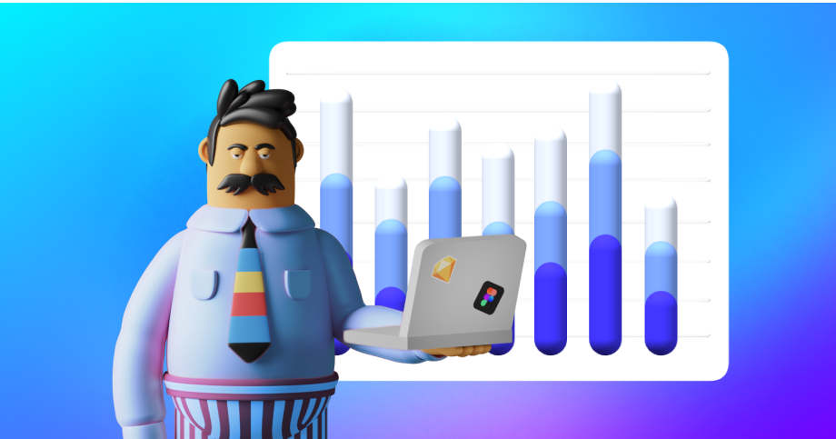 a tired sales representative in his shirt and underwear is standing and holding a computer, data chart in the background