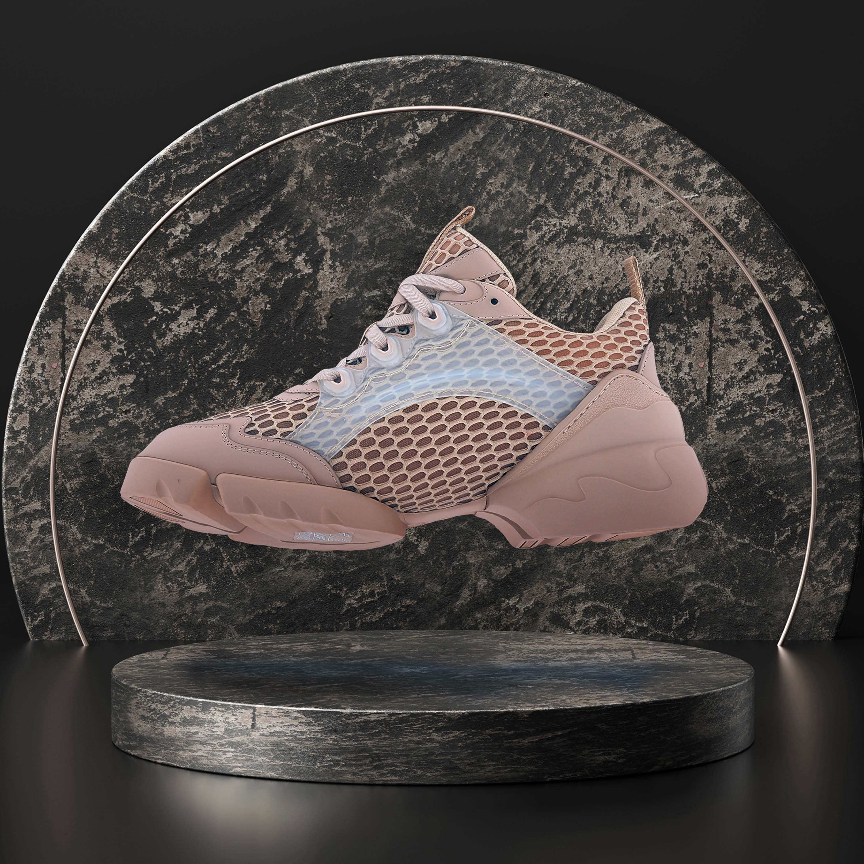 a ray tracing 3D render by Naker shoes