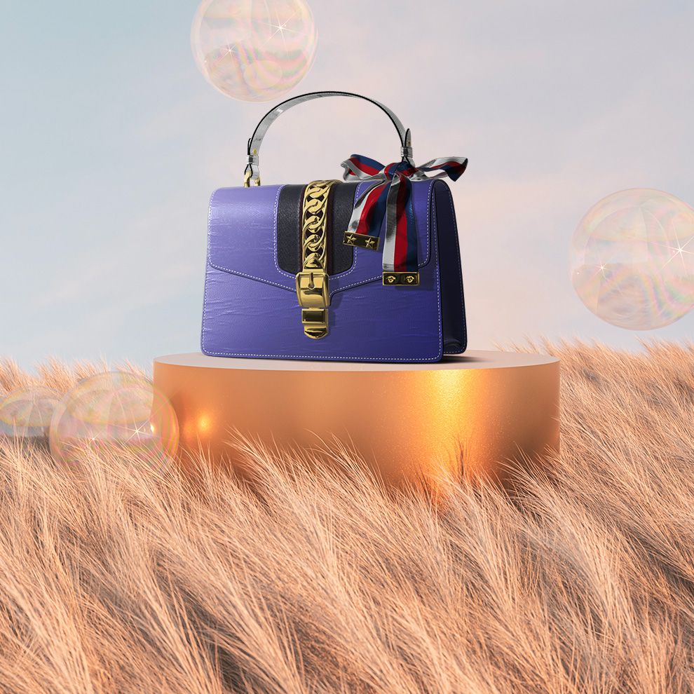 a ray tracing 3D render by Naker blue bag