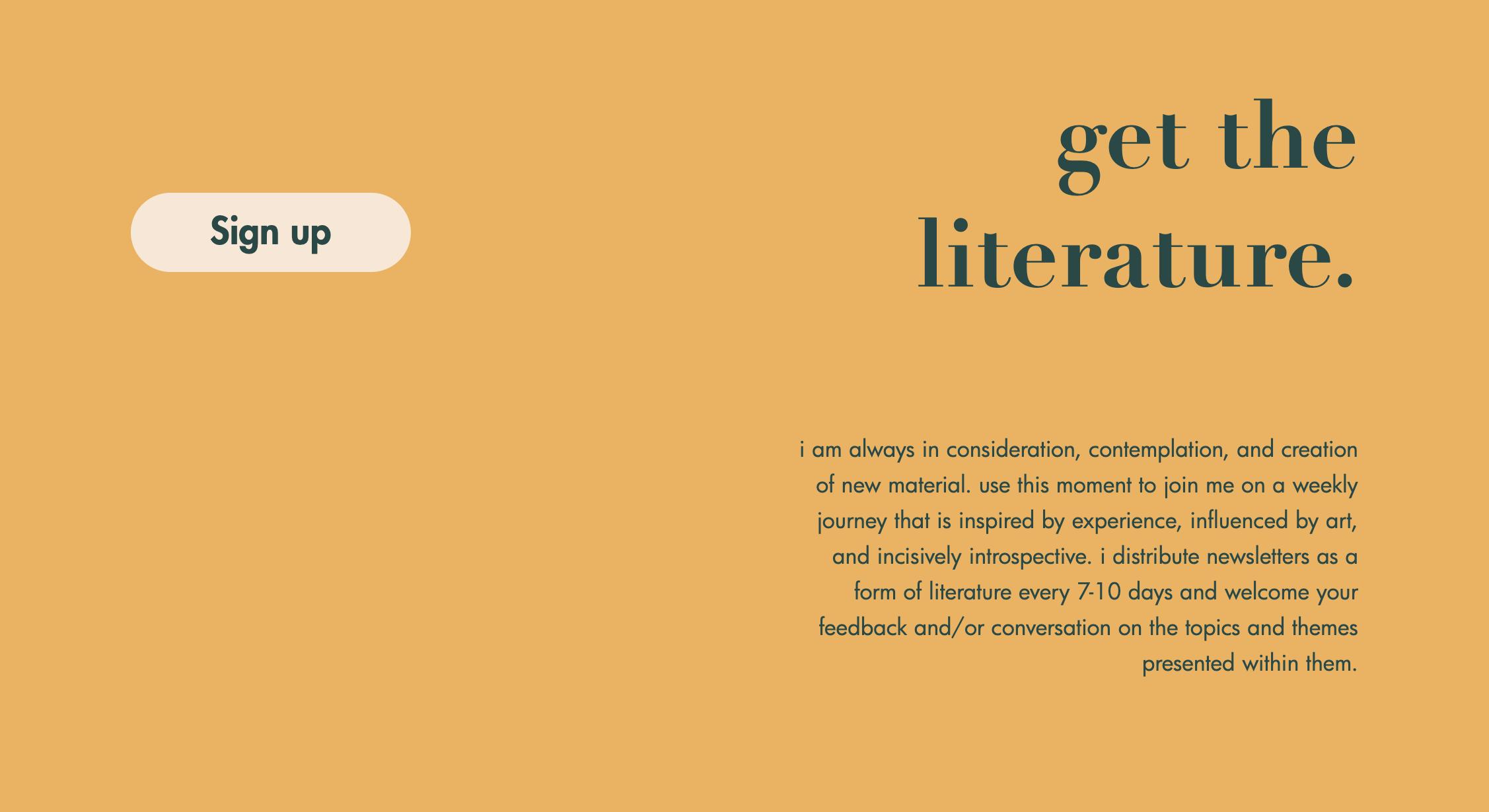 Substantive Material newsletter signup section website screenshot