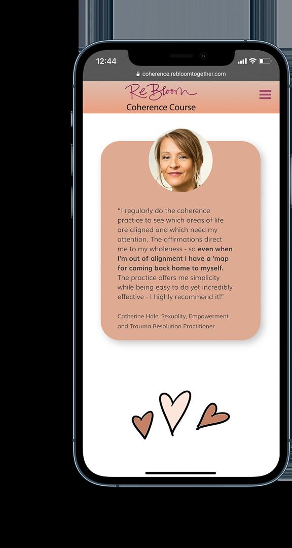 Rebloom Testimonial iPhone mockup