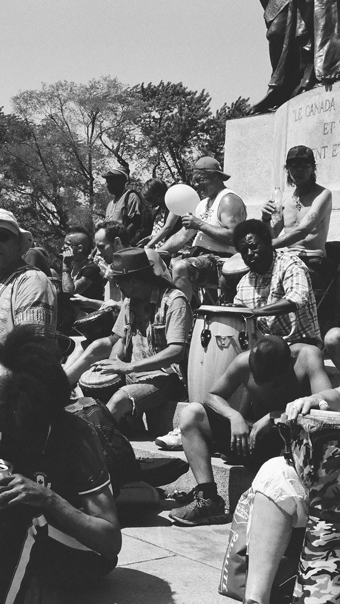 Bongo drummers at Tams - Mont Royal, Montreal