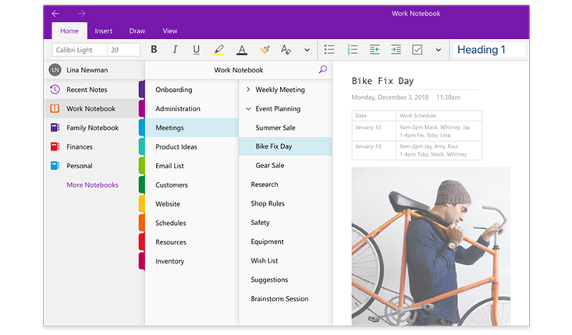 An image of the OneNote navigation panes, showing a list of notebooks and the list of sections and pages within a notebook titled Work Notebook