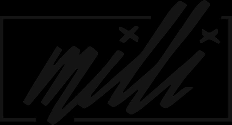 """Milli"" written in a graffiti-style script"