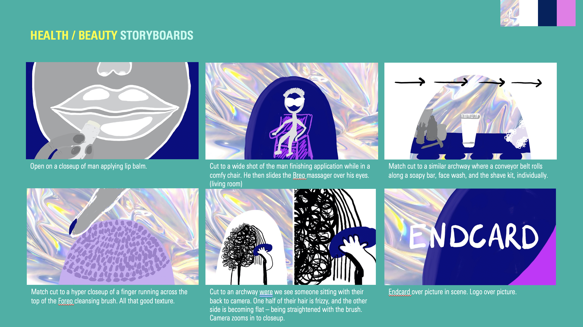 """""""Health/Beauty"""" Storyboards showing illustrated scenes of the video"""