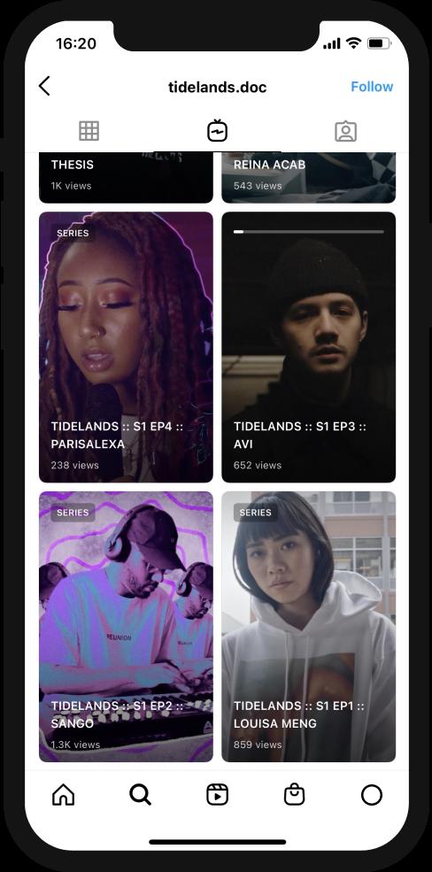 A screenshot of the Tidelands Instagram showing multiple episodes