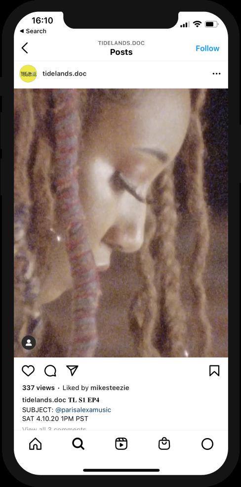 A screenshot of the Tidelands Instagram showing Parisalexa's episode