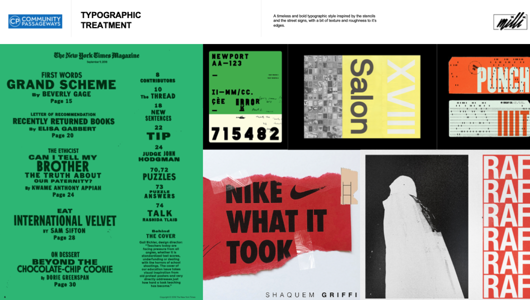 Screenshot of typography guidelines for brand