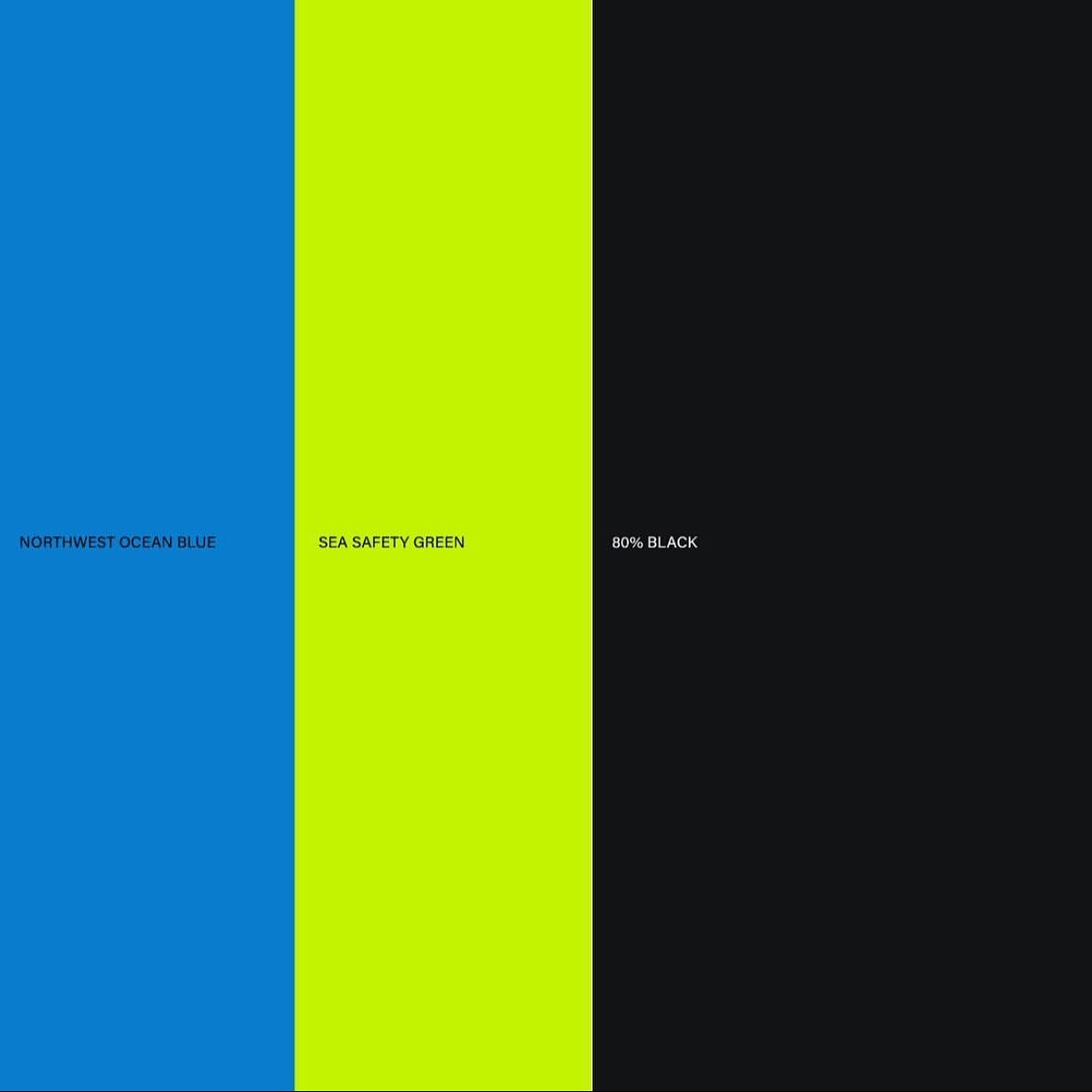 Brand colors: blue, neon green, black