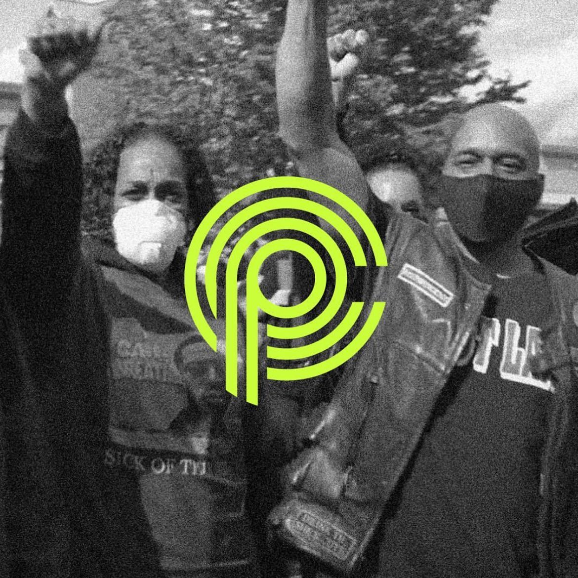 Black and white photo of masked people with their fists raised. CP logo overlaid on top of the photo