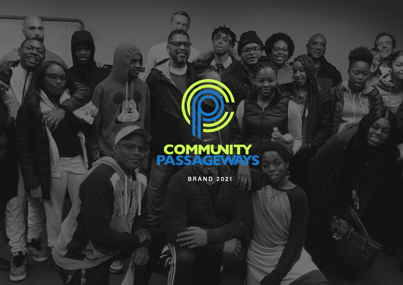 Black and white group photo overlaid with Community Passageways logo