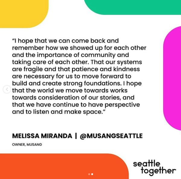 """Screenshot of quote from Melissa Miranda """"I hope that we can come back and remember how we showed up for each other and the importance of community and taking care of each other. That our systems are fragile and that patience and kindness are necessary for us to move forward to build and create strong foundations. I hope that the world we move towards works towards consideration of our stories, and that we continue to have perspective and to listen and make space."""""""