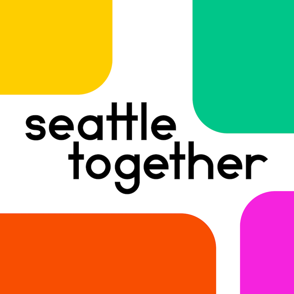 """Colorful squares surrounding the words """"Seattle Together"""""""
