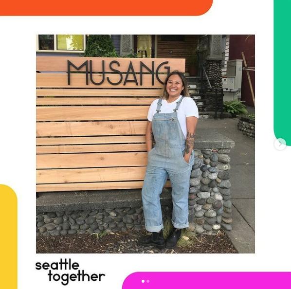 Photo of chef Melissa Miranda in front of her restaurant, Musang