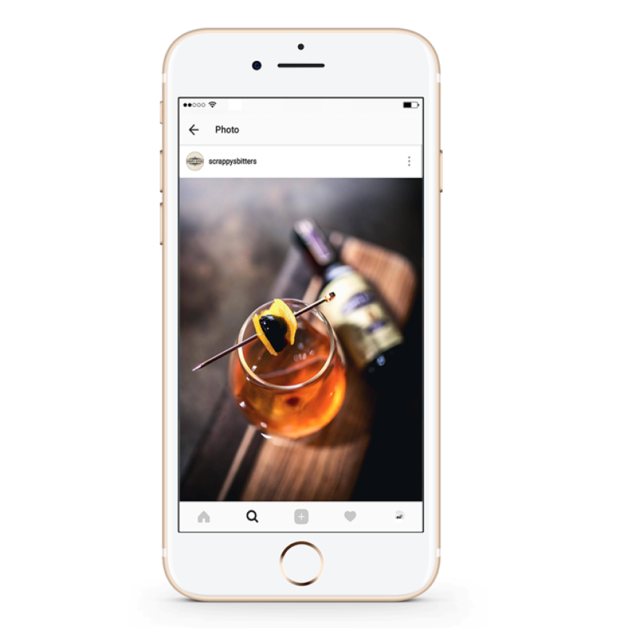 Screenshot of Scrappy's Bitters Instagram post of an orange cocktail