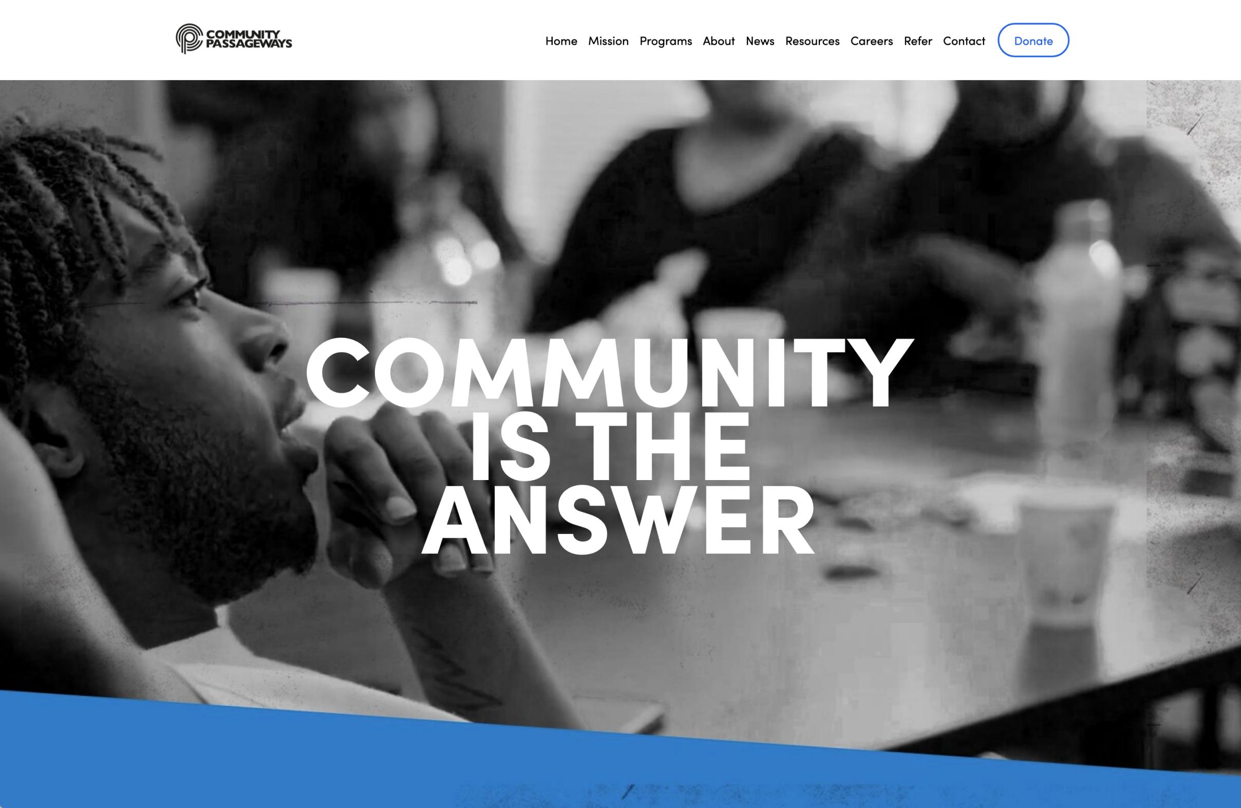 Screenshot of CP website homepage