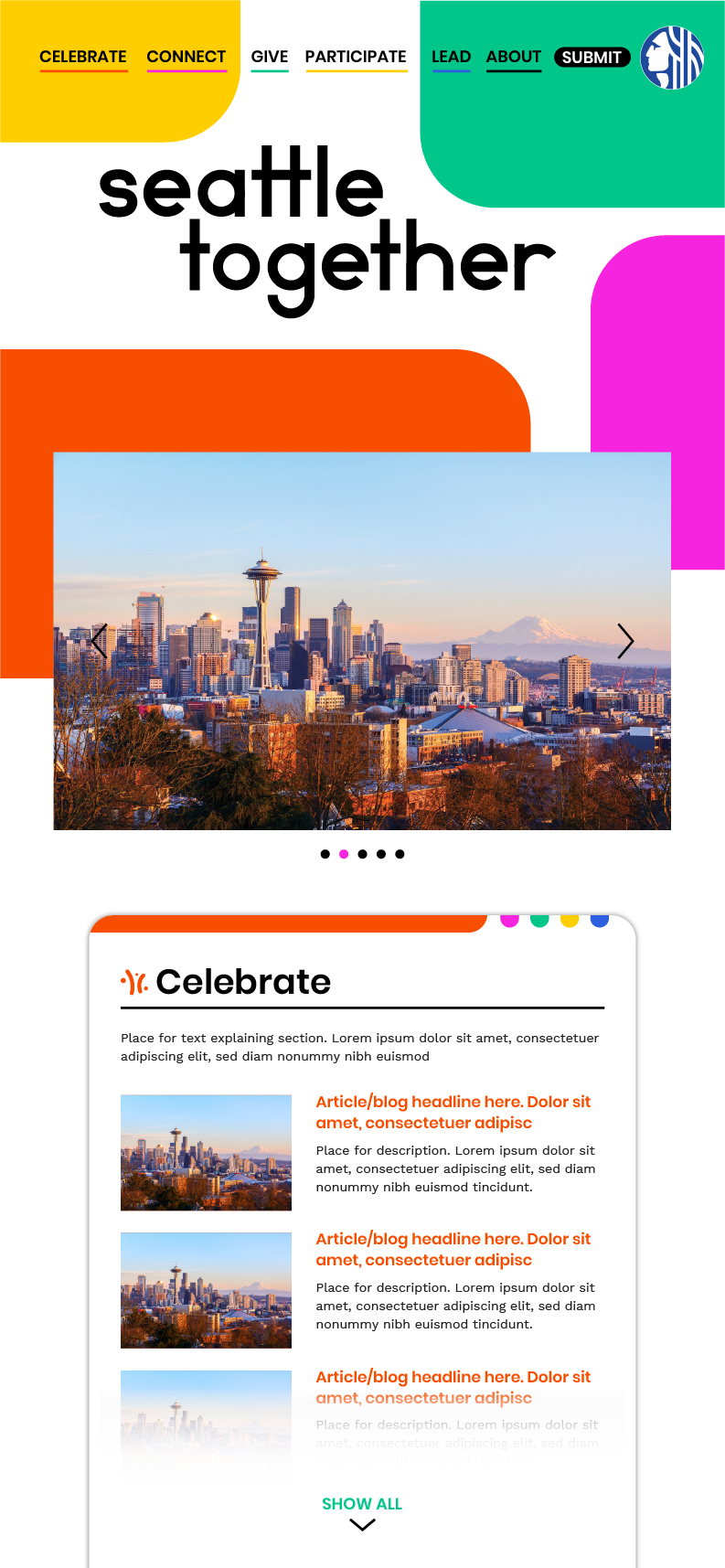 Screenshot of website showing colorful layout and slideshow