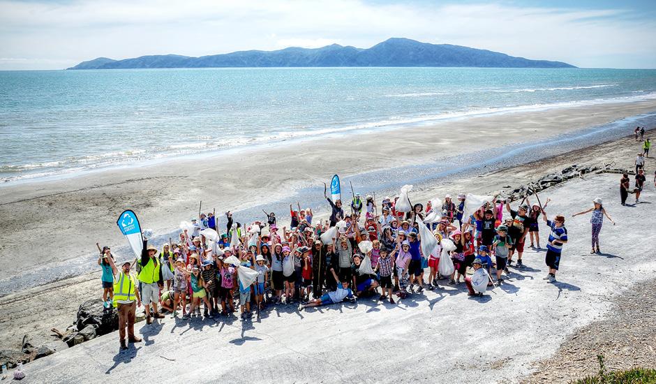 Image of a Sustainable Coastlines beach cleanup on Kapiti Coast