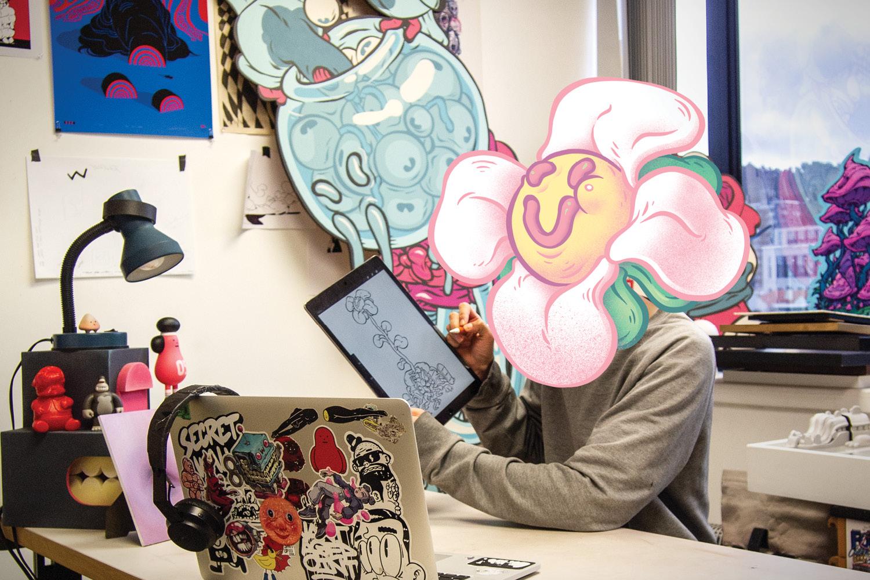 Artist T-Wei in his studio